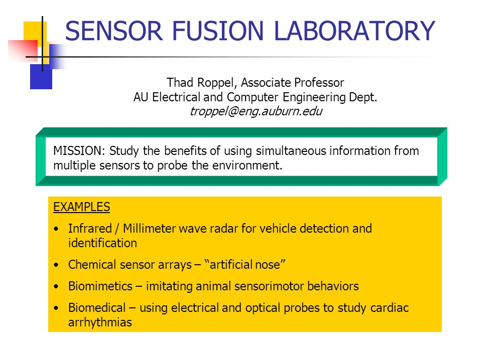 SENSOR FUSION LABORATORY Thad Roppel, Associate Professor AU Electrical and Computer Engineering Dept.