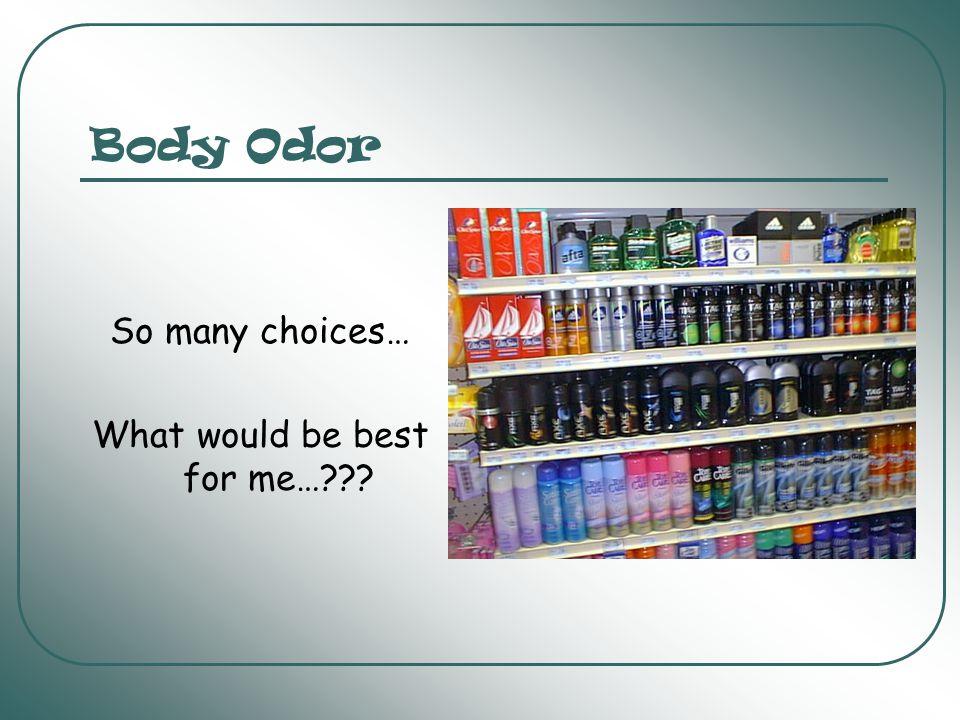 Body Odor What causes body odor.