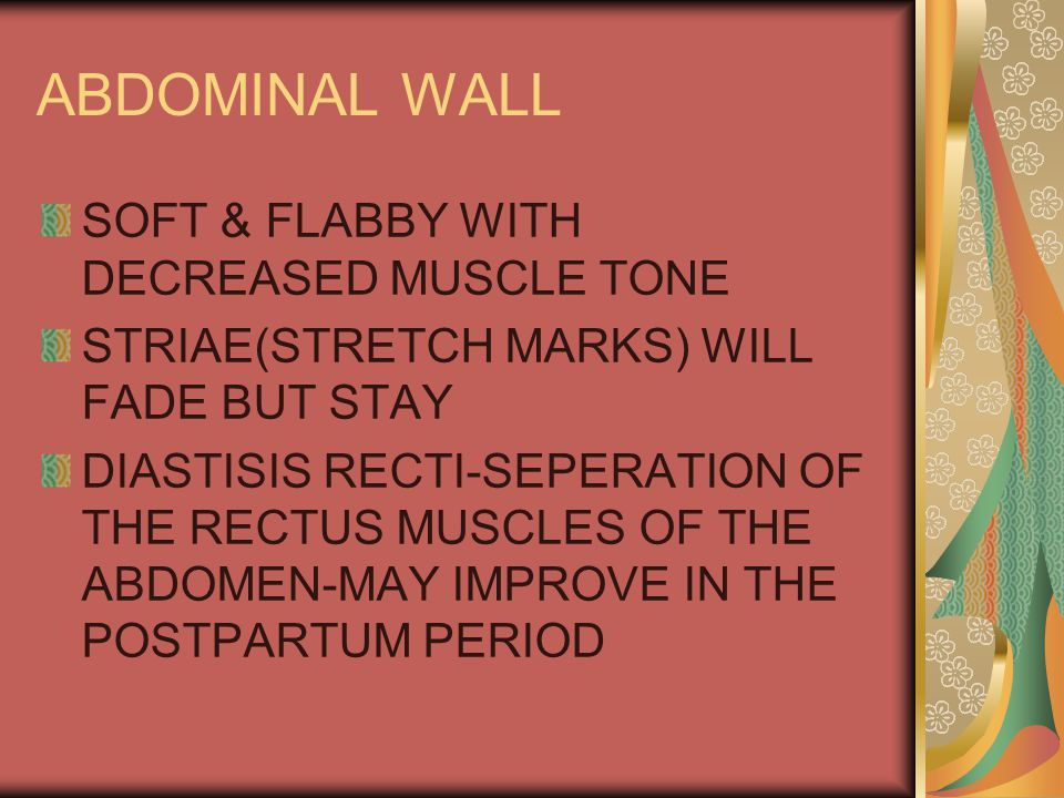 ABDOMINAL WALL SOFT & FLABBY WITH DECREASED MUSCLE TONE STRIAE(STRETCH MARKS) WILL FADE BUT STAY DIASTISIS RECTI-SEPERATION OF THE RECTUS MUSCLES OF THE ABDOMEN-MAY IMPROVE IN THE POSTPARTUM PERIOD