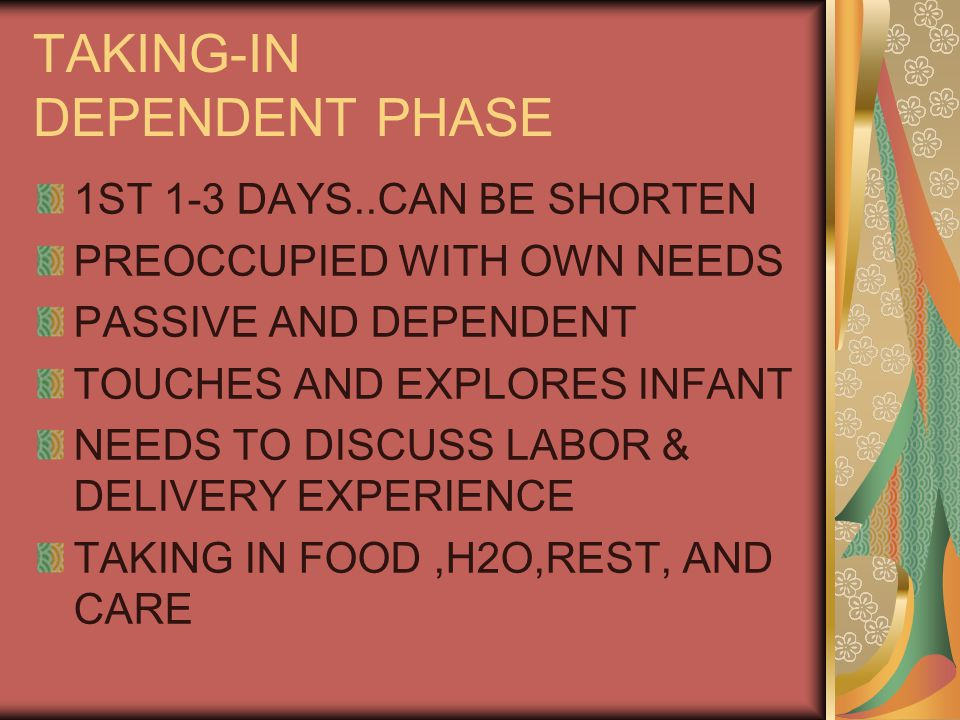 TAKING-IN DEPENDENT PHASE 1ST 1-3 DAYS..CAN BE SHORTEN PREOCCUPIED WITH OWN NEEDS PASSIVE AND DEPENDENT TOUCHES AND EXPLORES INFANT NEEDS TO DISCUSS LABOR & DELIVERY EXPERIENCE TAKING IN FOOD,H2O,REST, AND CARE