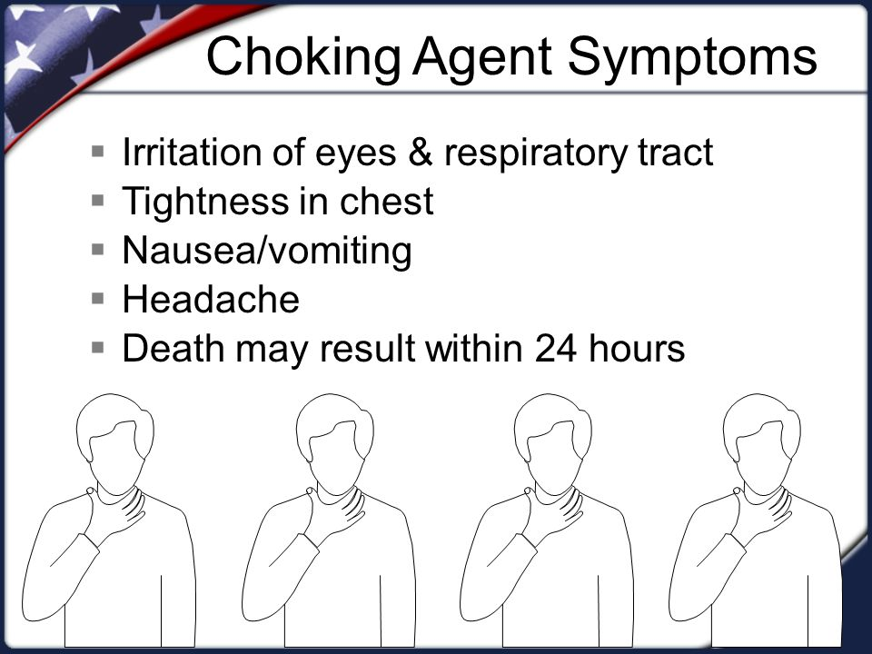 Choking Agent Symptoms  Irritation of eyes & respiratory tract  Tightness in chest  Nausea/vomiting  Headache  Death may result within 24 hours