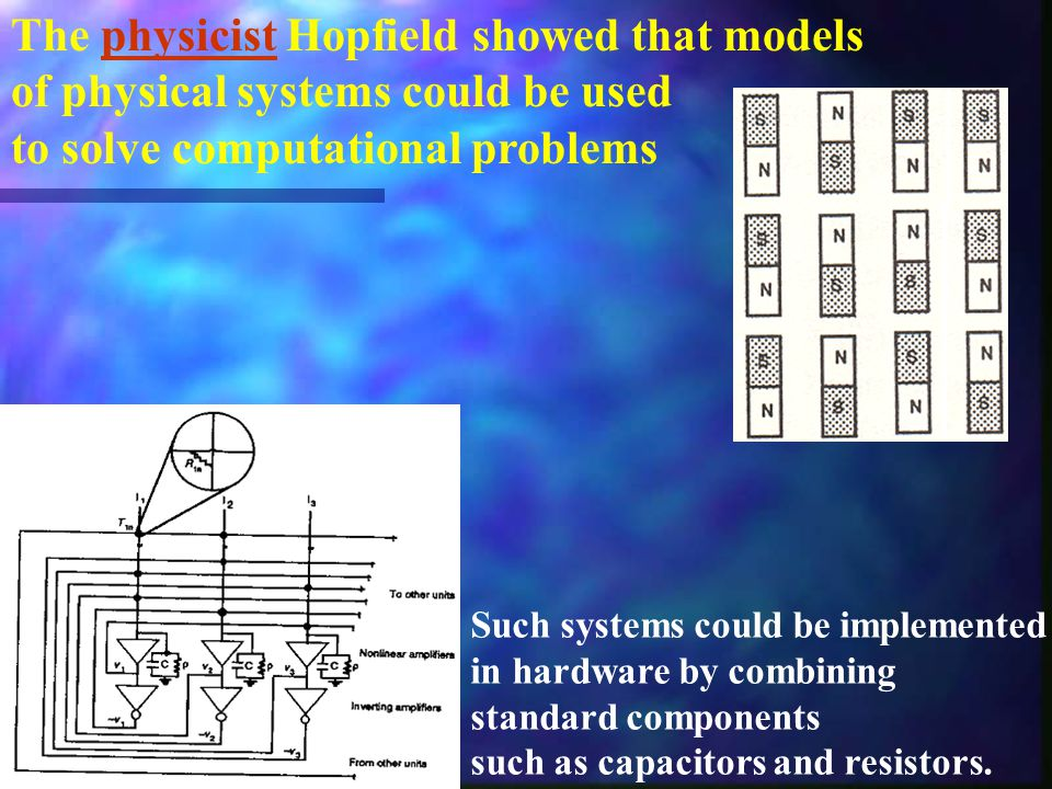 The physicist Hopfield showed that models of physical systems could be used to solve computational problems Such systems could be implemented in hardware by combining standard components such as capacitors and resistors.