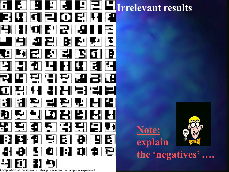 Irrelevant results Note: explain the 'negatives' ….