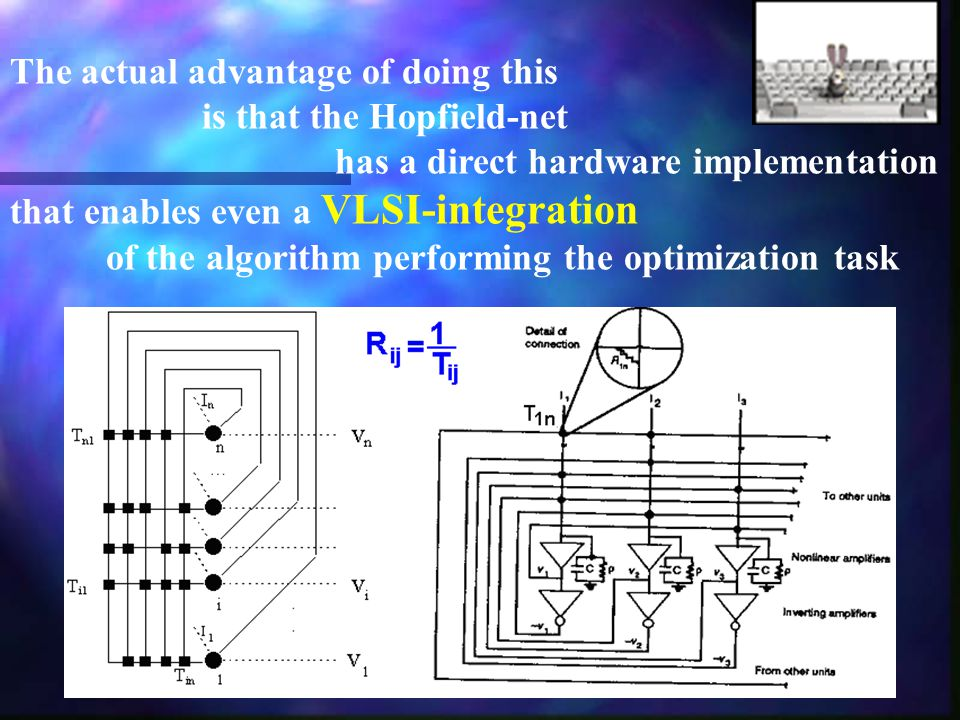 The actual advantage of doing this is that the Hopfield-net has a direct hardware implementation that enables even a VLSI-integration of the algorithm performing the optimization task