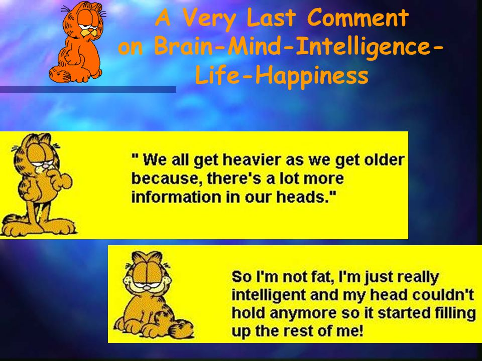A Very Last Comment on Brain-Mind-Intelligence- Life-Happiness