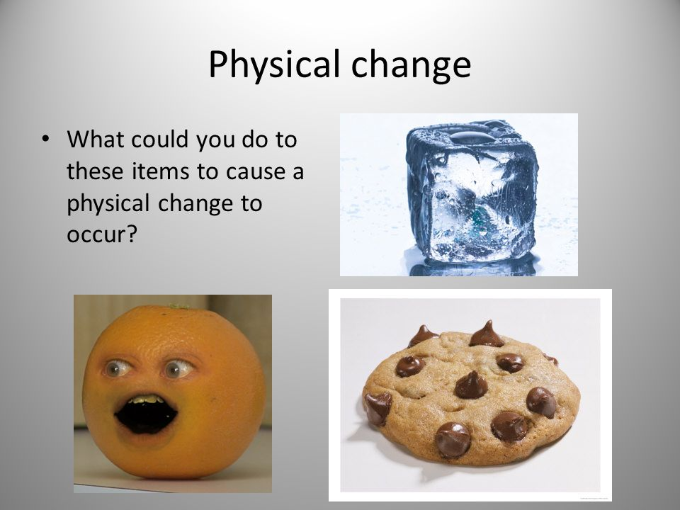 Physical change What could you do to these items to cause a physical change to occur?