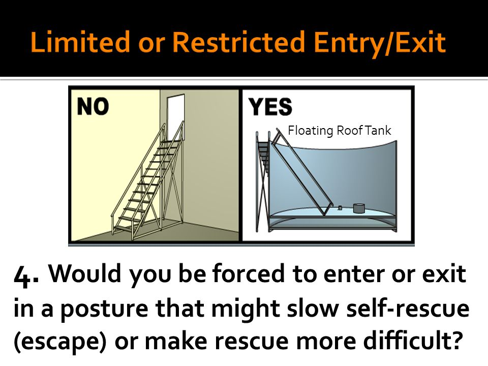 4. Would you be forced to enter or exit in a posture that might slow self-rescue (escape) or make rescue more difficult? Floating Roof Tank