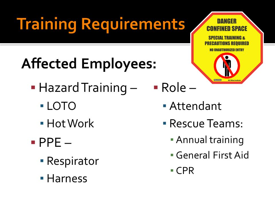  Hazard Training – ▪ LOTO ▪ Hot Work  PPE – ▪ Respirator ▪ Harness  Role – ▪ Attendant ▪ Rescue Teams: ▪ Annual training ▪ General First Aid ▪ CPR Affected Employees: