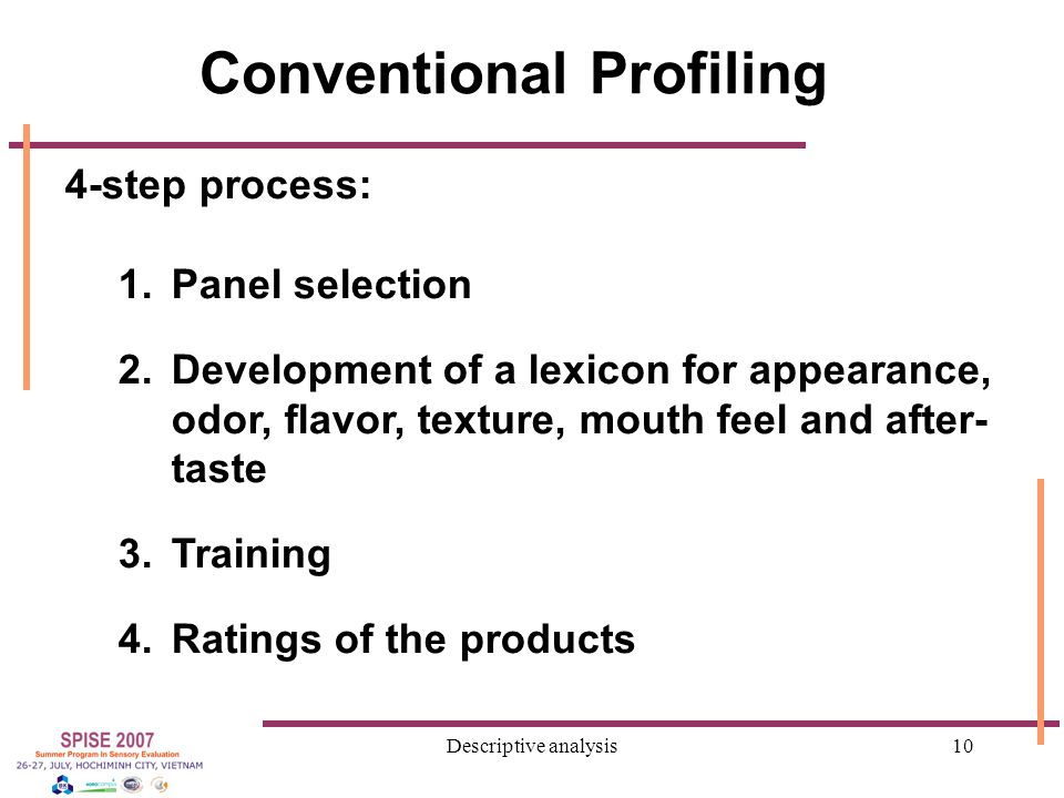 Descriptive analysis10 Conventional Profiling 4-step process: 1.Panel selection 2.Development of a lexicon for appearance, odor, flavor, texture, mouth feel and after- taste 3.Training 4.Ratings of the products
