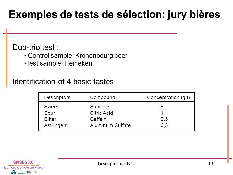 Descriptive analysis15 Duo-trio test : Control sample: Kronenbourg beer Test sample: Heineken Identification of 4 basic tastes DescriptorsCompoundConcentration (g/l) SweetSucrose8 SourCitric Acid 1 BitterCaffein0,5 AstringentAluminum Sulfate 0,5 Exemples de tests de sélection: jury bières
