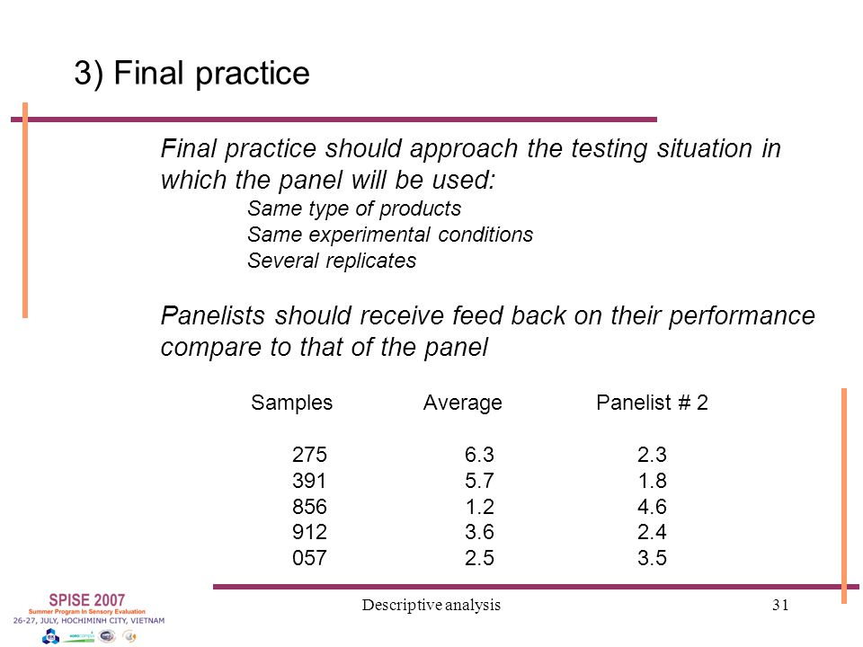 Descriptive analysis31 3) Final practice Final practice should approach the testing situation in which the panel will be used: Same type of products Same experimental conditions Several replicates Panelists should receive feed back on their performance compare to that of the panel SamplesAveragePanelist # 1 2756.35.7 3915.74.2 8561.22.3 9123.63.7 0572.51.9 SamplesAveragePanelist # 2 2756.32.3 3915.71.8 8561.24.6 9123.62.4 0572.53.5