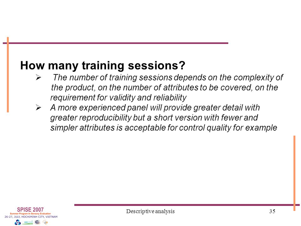 Descriptive analysis35 How many training sessions.
