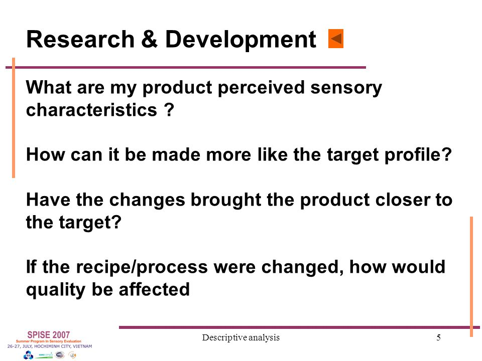 Descriptive analysis6 Marketing and Packaging What are the attributes of products already on the market.