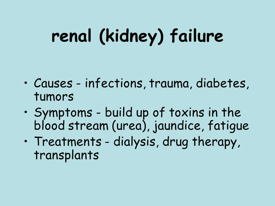 renal (kidney) failure Causes - infections, trauma, diabetes, tumors Symptoms - build up of toxins in the blood stream (urea), jaundice, fatigue Treatments - dialysis, drug therapy, transplants