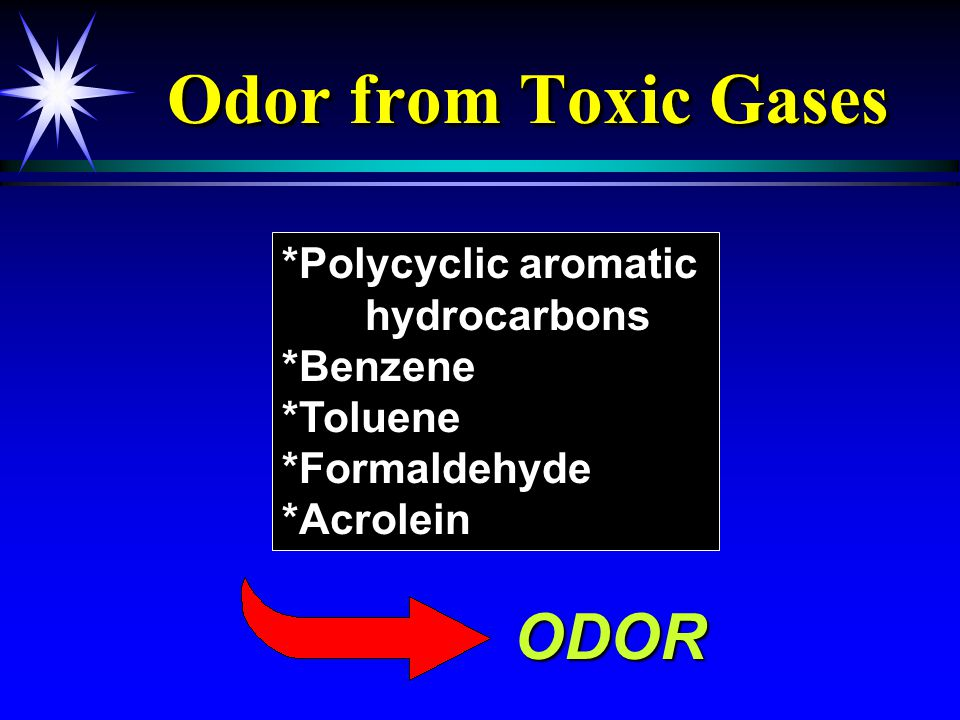 Odor from Toxic Gases *Polycyclic aromatic hydrocarbons *Benzene *Toluene *Formaldehyde *Acrolein ODOR