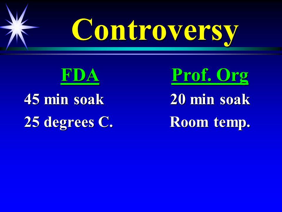 ControversyControversy FDA 45 min soak 25 degrees C. Prof. Org 20 min soak Room temp.