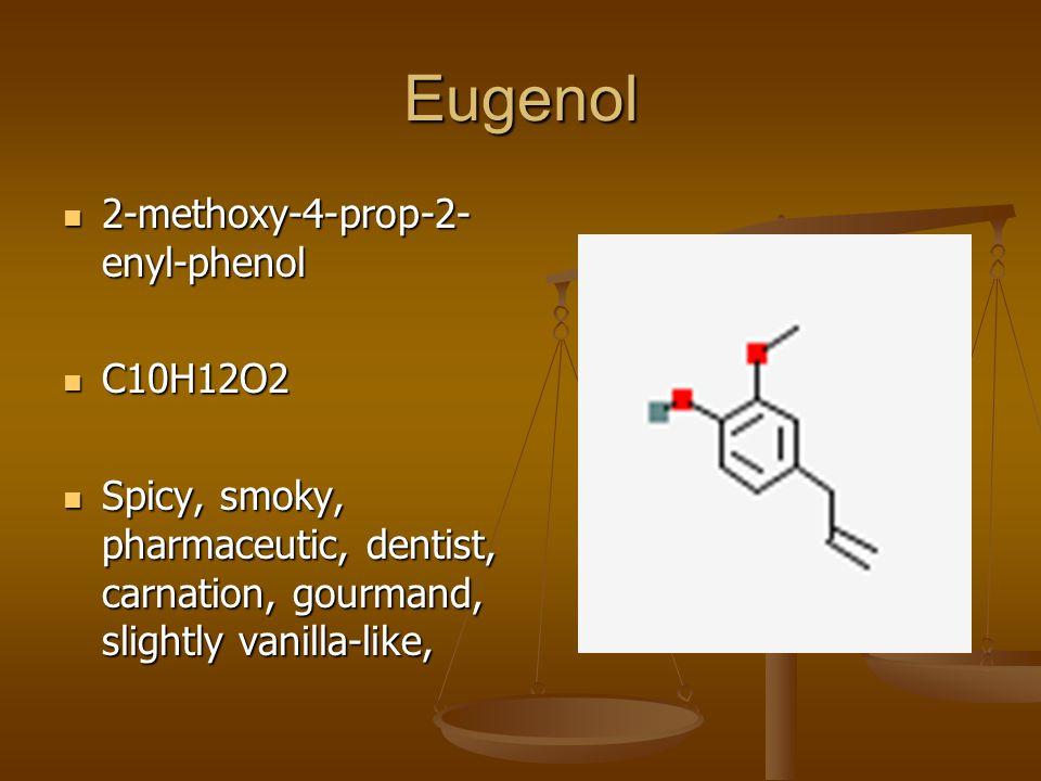 Eugenol 2-methoxy-4-prop-2- enyl-phenol 2-methoxy-4-prop-2- enyl-phenol C10H12O2 C10H12O2 Spicy, smoky, pharmaceutic, dentist, carnation, gourmand, slightly vanilla-like, Spicy, smoky, pharmaceutic, dentist, carnation, gourmand, slightly vanilla-like,