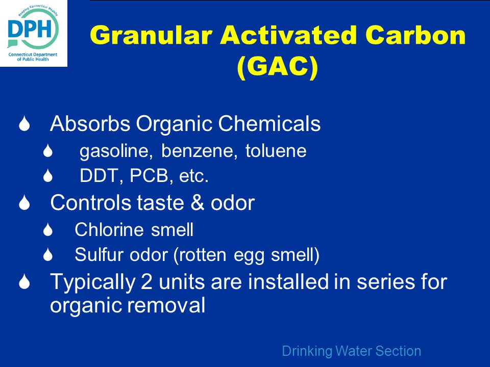 Drinking Water Section Granular Activated Carbon (GAC)  Absorbs Organic Chemicals  gasoline, benzene, toluene  DDT, PCB, etc.  Controls taste & od