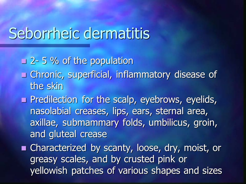 Differential diagnosis Psoriasis, heavier scale and erythema, Auspitz's sign, resistance to treatment, nail involvement Psoriasis, heavier scale and erythema, Auspitz's sign, resistance to treatment, nail involvement Crusted scabies of the scalp in immunodeficiency syndromes Crusted scabies of the scalp in immunodeficiency syndromes Otitis externa, blepharitis, tinea corporis, pityriasis rosea, keratosis lichenoides chronica Otitis externa, blepharitis, tinea corporis, pityriasis rosea, keratosis lichenoides chronica