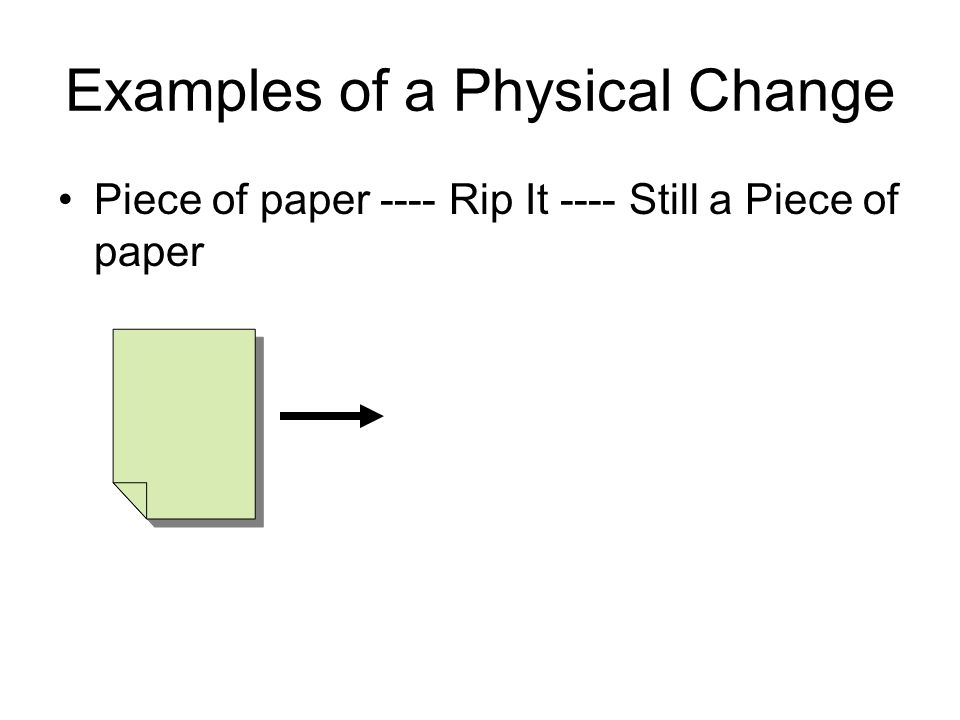 Examples of a Physical Change Piece of paper ---- Rip It ---- Still a Piece of paper
