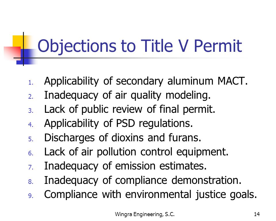 Wingra Engineering, S.C.14 Objections to Title V Permit 1.