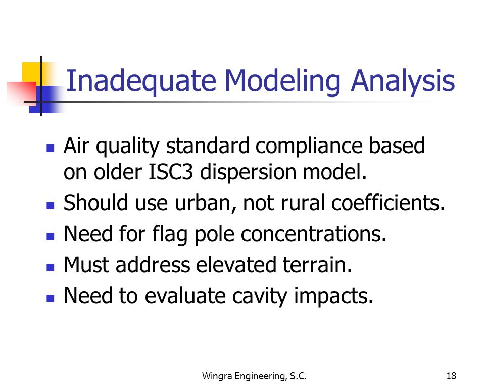 Wingra Engineering, S.C.18 Inadequate Modeling Analysis Air quality standard compliance based on older ISC3 dispersion model.