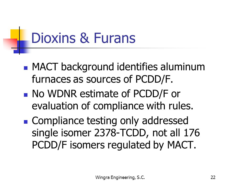Wingra Engineering, S.C.22 Dioxins & Furans MACT background identifies aluminum furnaces as sources of PCDD/F. No WDNR estimate of PCDD/F or evaluatio