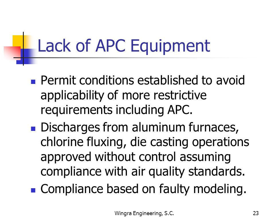 Wingra Engineering, S.C.23 Lack of APC Equipment Permit conditions established to avoid applicability of more restrictive requirements including APC.