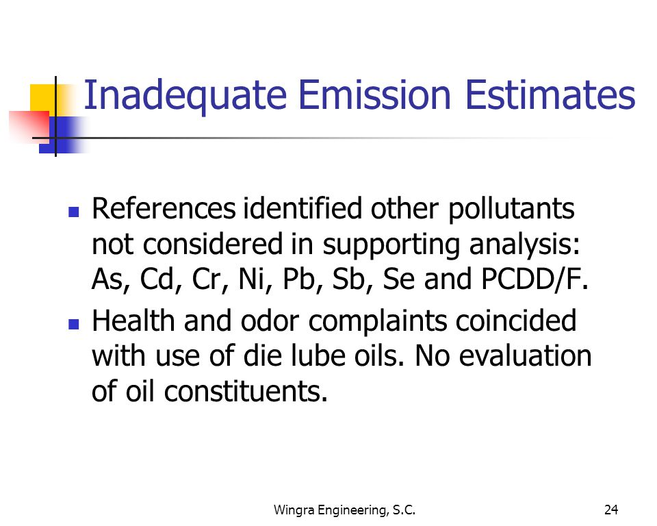 Wingra Engineering, S.C.24 Inadequate Emission Estimates References identified other pollutants not considered in supporting analysis: As, Cd, Cr, Ni, Pb, Sb, Se and PCDD/F.
