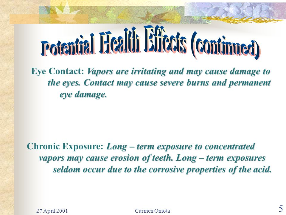 27 April 2001Carmen Omota 4 Corrosive! Inhalation of vapors can cause coughing, Inhalation: Corrosive! Inhalation of vapors can cause coughing, chokin