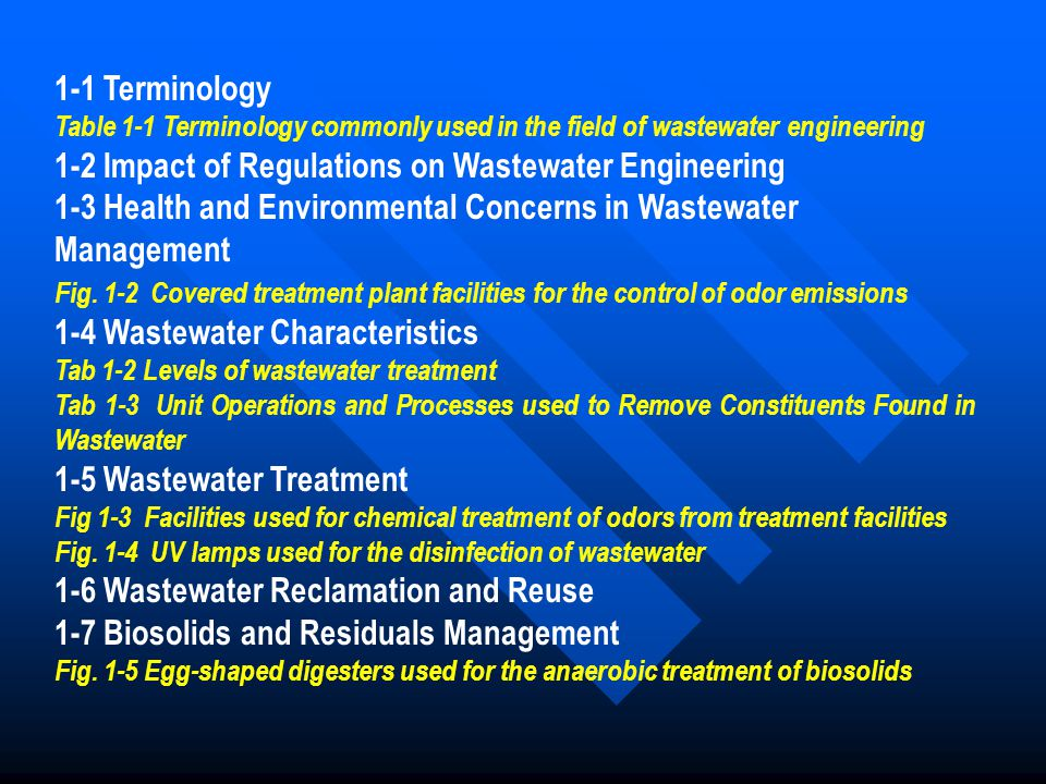 1-1 Terminology Table 1-1 Terminology commonly used in the field of wastewater engineering 1-2 Impact of Regulations on Wastewater Engineering 1-3 Hea