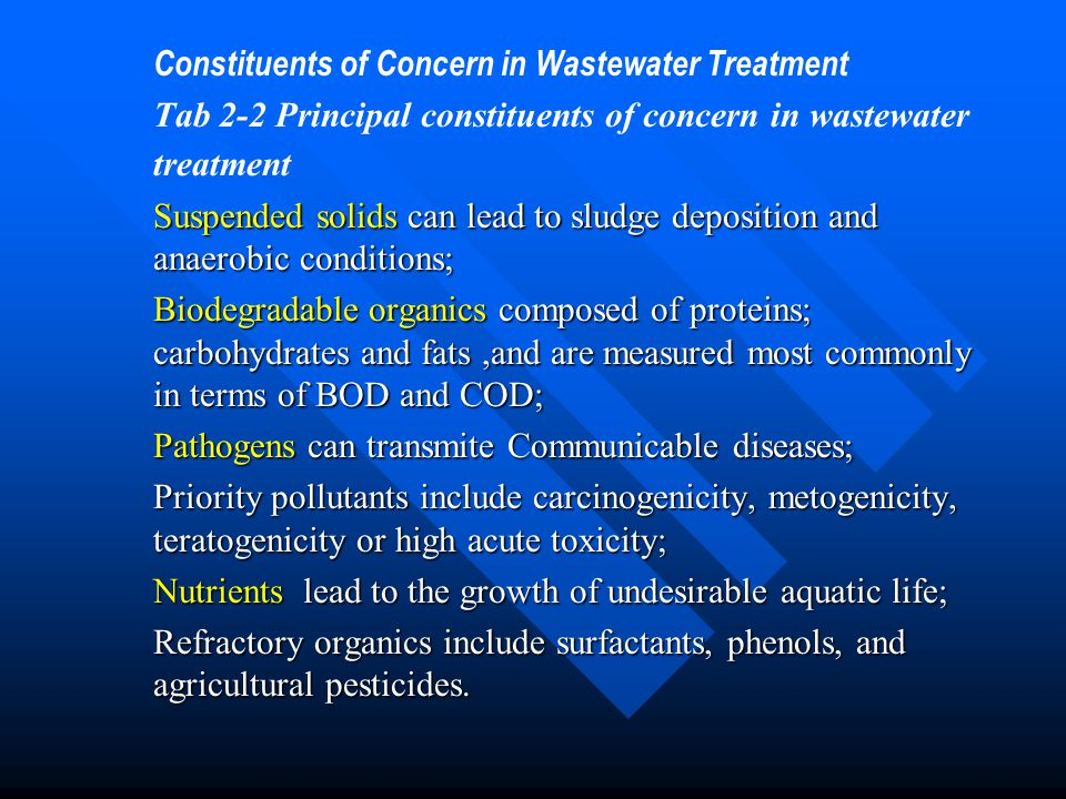 Constituents of Concern in Wastewater Treatment Tab 2-2 Principal constituents of concern in wastewater treatment Suspended solids can lead to sludge