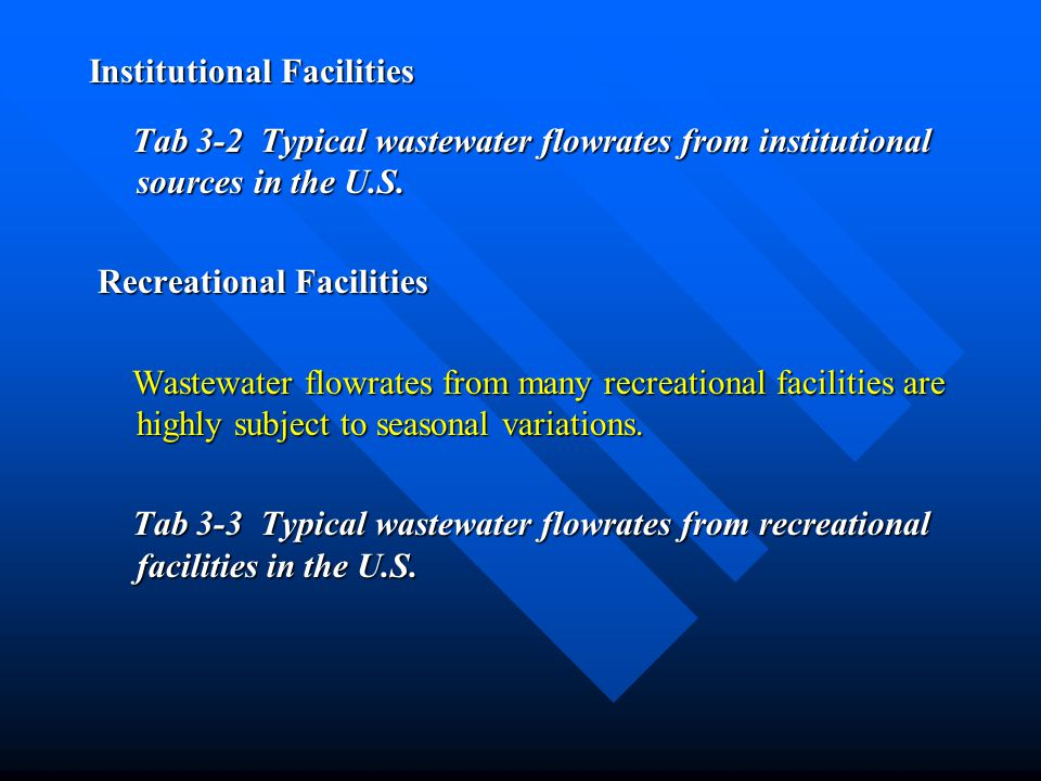 Institutional Facilities Tab 3-2 Typical wastewater flowrates from institutional sources in the U.S. Tab 3-2 Typical wastewater flowrates from institu