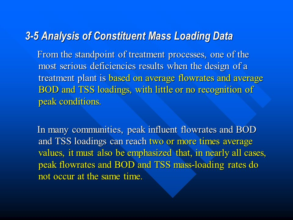 3-5 Analysis of Constituent Mass Loading Data From the standpoint of treatment processes, one of the most serious deficiencies results when the design