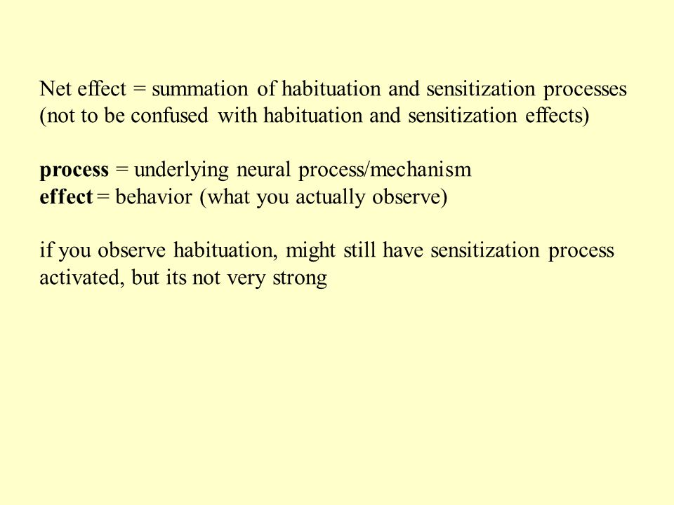 Net effect = summation of habituation and sensitization processes (not to be confused with habituation and sensitization effects) process = underlying neural process/mechanism effect = behavior (what you actually observe) if you observe habituation, might still have sensitization process activated, but its not very strong