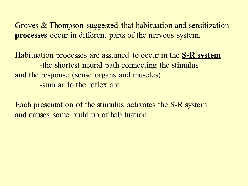 Groves & Thompson suggested that habituation and sensitization processes occur in different parts of the nervous system.