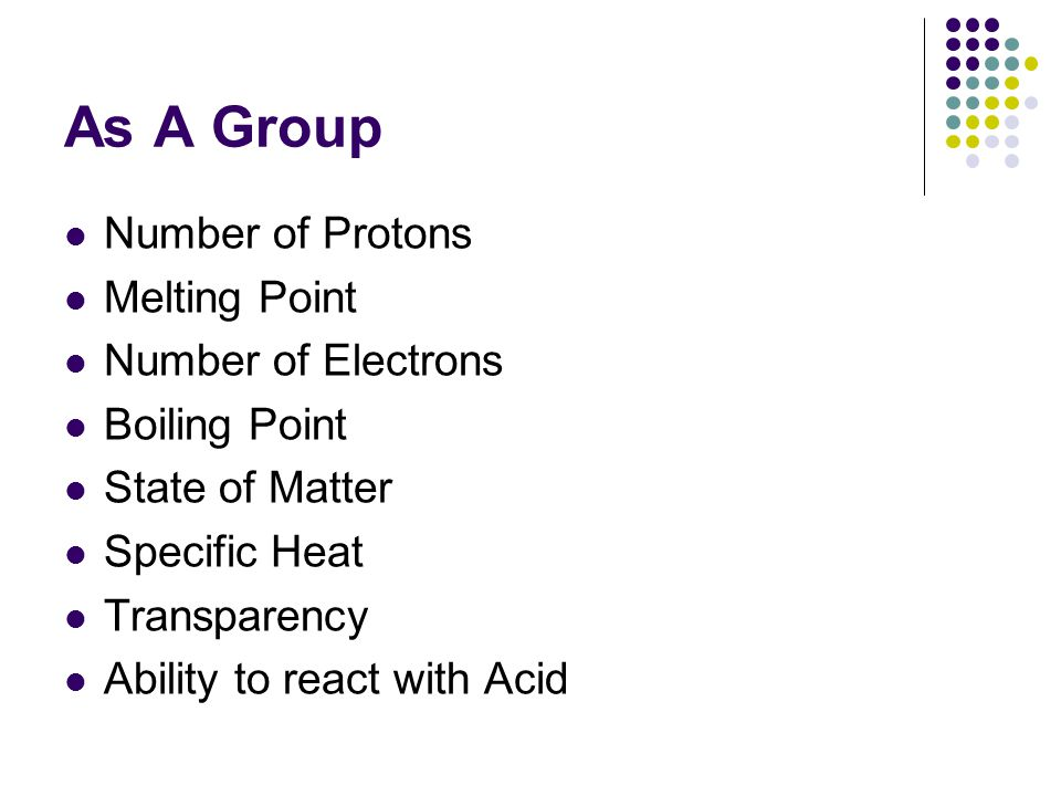 As A Group Number of Protons Melting Point Number of Electrons Boiling Point State of Matter Specific Heat Transparency Ability to react with Acid