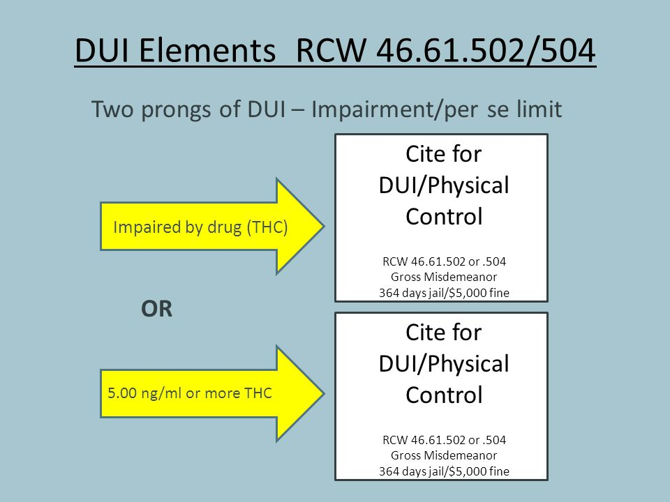 DUI Elements RCW 46.61.502/504 Two prongs of DUI – Impairment/per se limit OR Impaired by drug (THC) Cite for DUI/Physical Control RCW 46.61.502 or.50