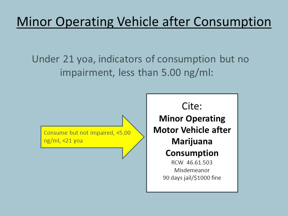 Minor Operating Vehicle after Consumption Under 21 yoa, indicators of consumption but no impairment, less than 5.00 ng/ml: Cite: Minor Operating Motor Vehicle after Marijuana Consumption RCW 46.61.503 Misdemeanor 90 days jail/$1000 fine Consume but not impaired, <5.00 ng/ml, <21 yoa