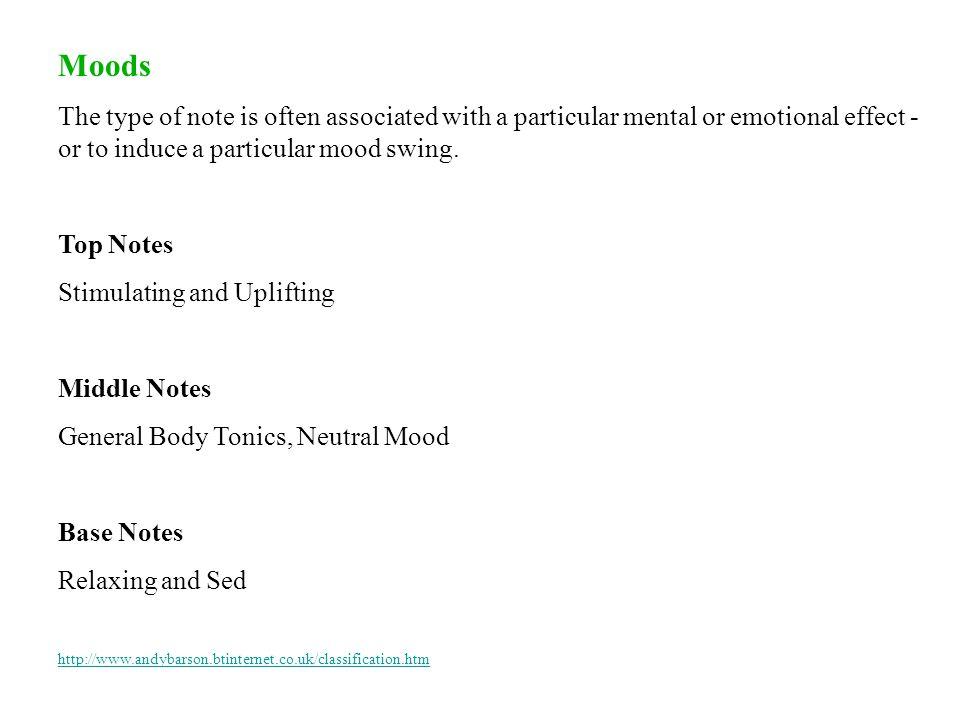 Top Notes : citrus oils (bergamot, lemon, mandarin, orange, tangerine, etc), conifer oils (cypress, fir, pine, spruce, etc), mint oils, basil, cardamo