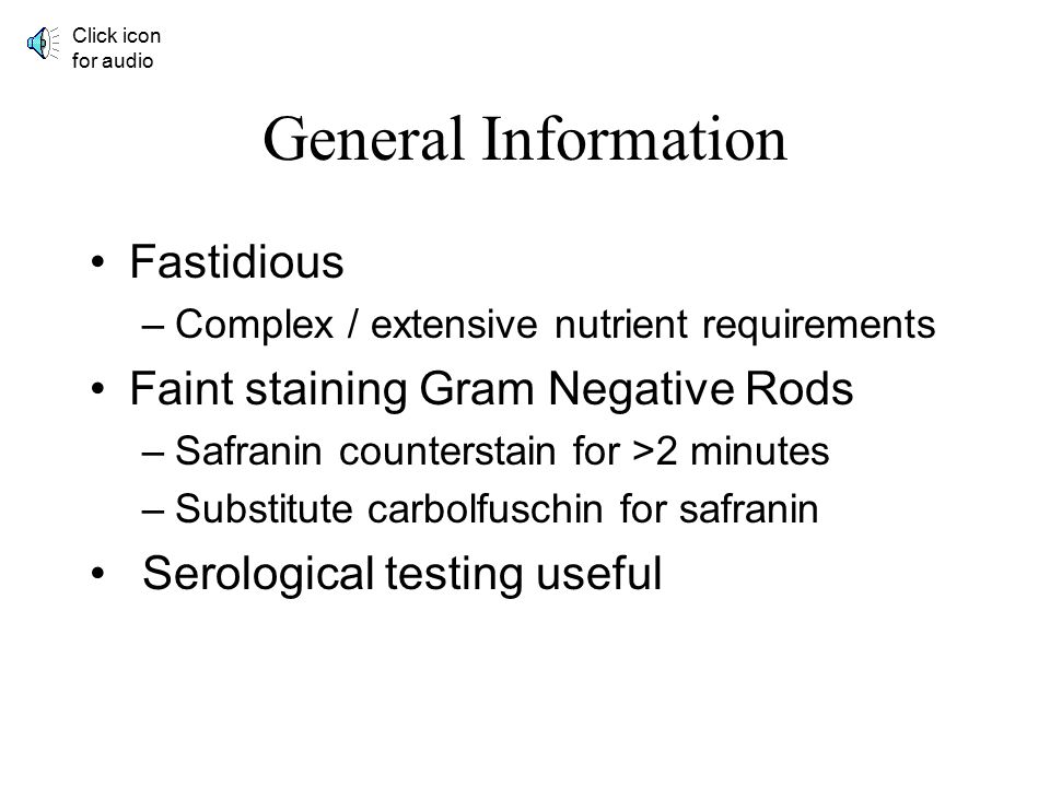 Fastidious Gram Negative Rods Blood Culture Unit Division of Medical Technology Carol Larson MSEd, MT(ASCP) Please click audio icon to hear Carol's na