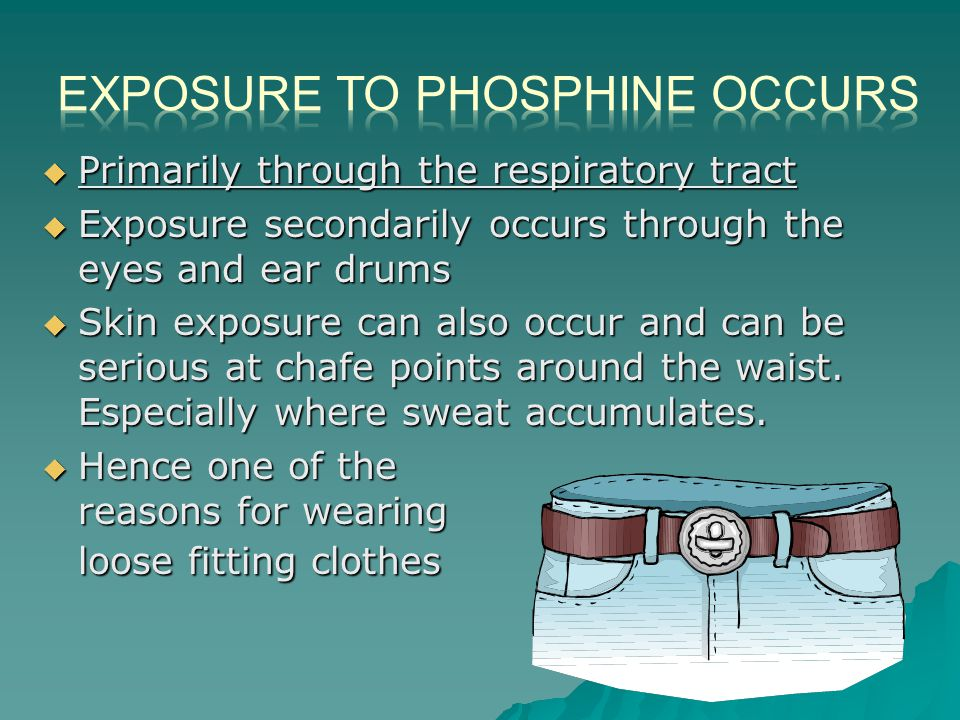  Primarily through the respiratory tract  Exposure secondarily occurs through the eyes and ear drums  Skin exposure can also occur and can be serious at chafe points around the waist.