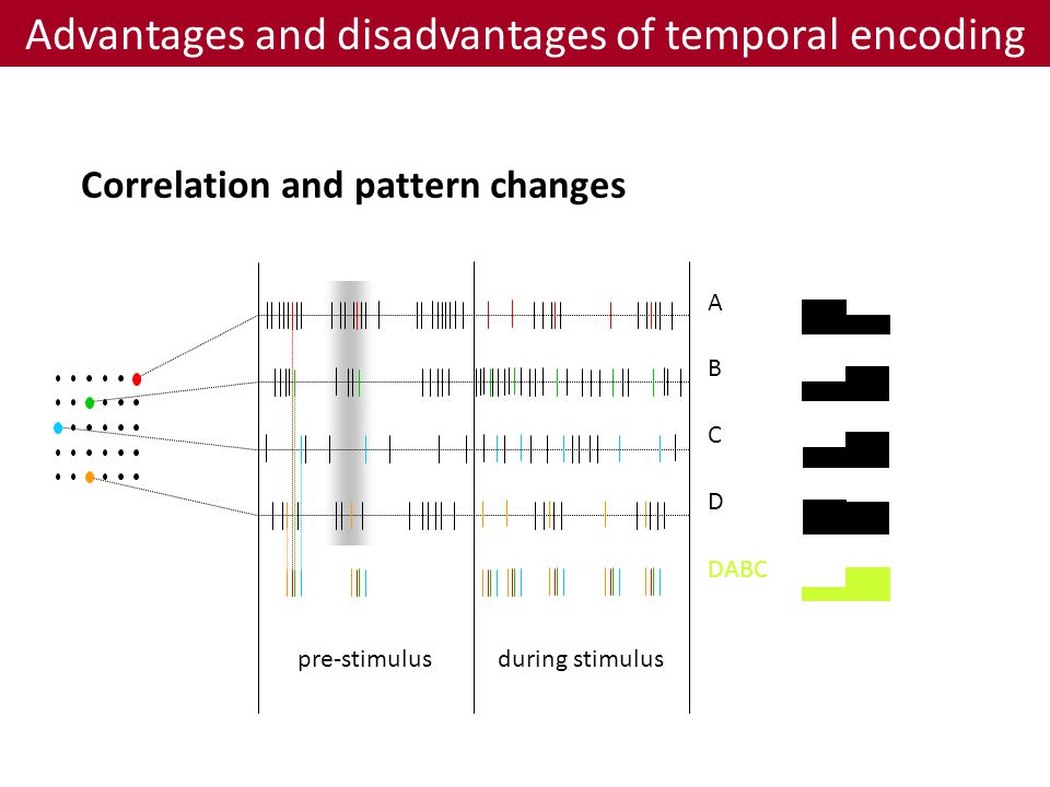 Correlation and pattern changes Advantages and disadvantages of temporal encoding