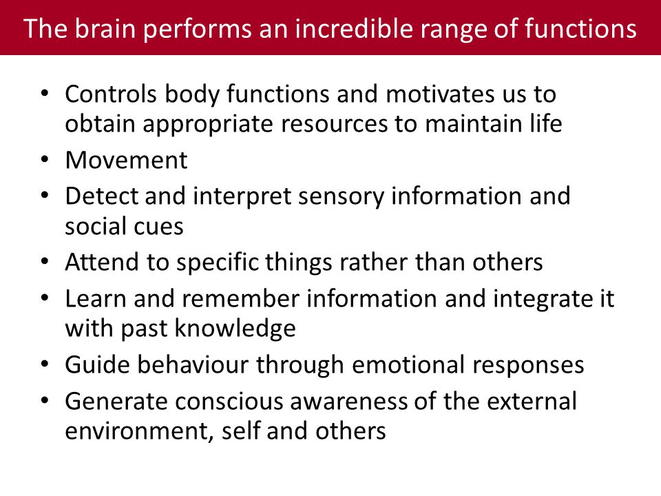 The brain performs an incredible range of functions Controls body functions and motivates us to obtain appropriate resources to maintain life Movement Detect and interpret sensory information and social cues Attend to specific things rather than others Learn and remember information and integrate it with past knowledge Guide behaviour through emotional responses Generate conscious awareness of the external environment, self and others