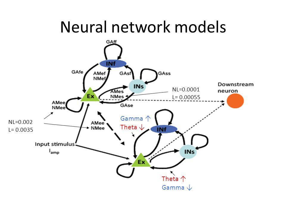 Neural network models NL=0.002 L= 0.0035 NL=0.0001 L= 0.00055 Theta ↑ Gamma ↓ Gamma ↑ Theta ↓