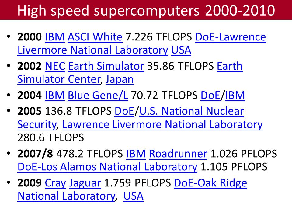 High speed supercomputers 2000-2010 2000 IBM ASCI White 7.226 TFLOPS DoE-Lawrence Livermore National Laboratory USAIBMASCI WhiteDoE-Lawrence Livermore National LaboratoryUSA 2002 NEC Earth Simulator 35.86 TFLOPS Earth Simulator Center, JapanNECEarth SimulatorEarth Simulator CenterJapan 2004 IBM Blue Gene/L 70.72 TFLOPS DoE/IBMIBMBlue Gene/LDoEIBM 2005 136.8 TFLOPS DoE/U.S.