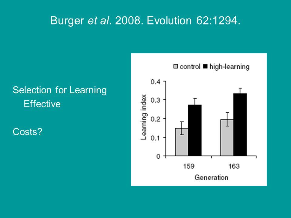 Burger et al. 2008. Evolution 62:1294. Selection for Learning Effective Costs
