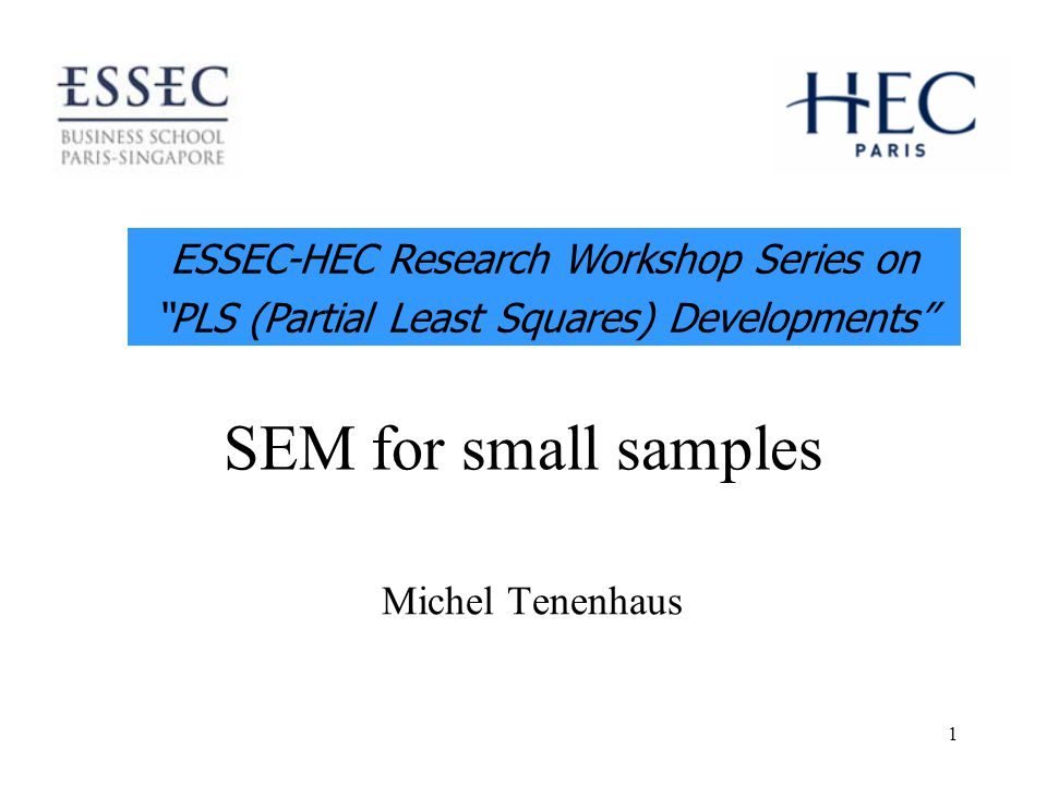 1 SEM for small samples Michel Tenenhaus ESSEC-HEC Research Workshop Series on PLS (Partial Least Squares) Developments