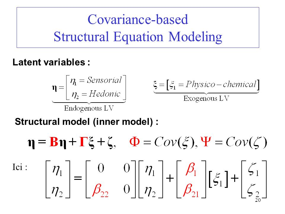 20 Covariance-based Structural Equation Modeling Latent variables : Structural model (inner model) : Ici :