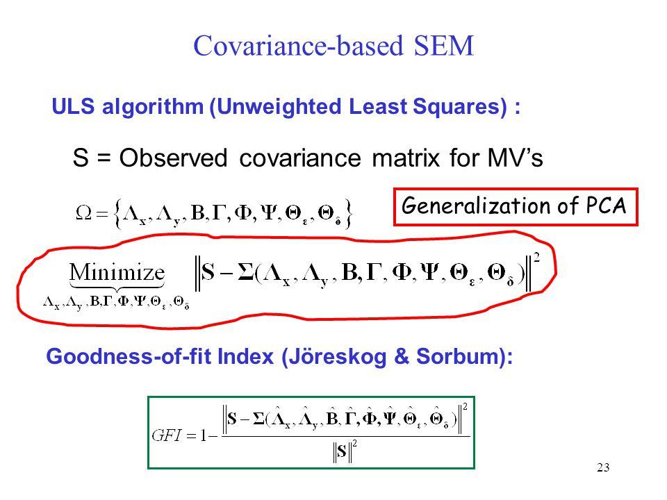 23 Covariance-based SEM ULS algorithm (Unweighted Least Squares) : S = Observed covariance matrix for MV's Goodness-of-fit Index (Jöreskog & Sorbum): Generalization of PCA